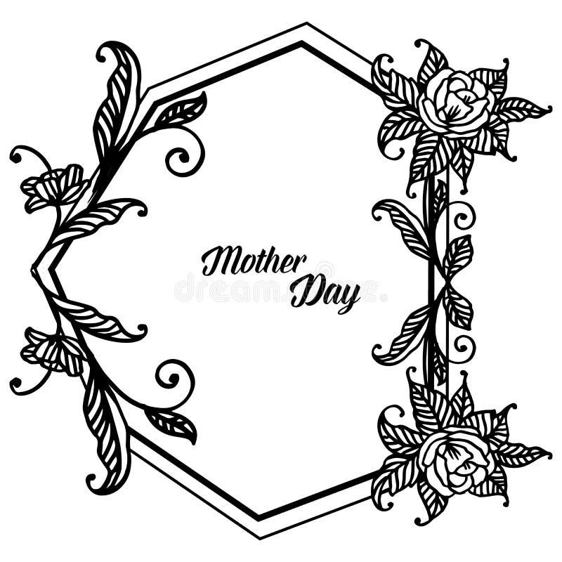 Kształt unikalna rama, piękny kwiat i liście, projekt kartki z pozdrowieniami macierzysty dzień wektor royalty ilustracja