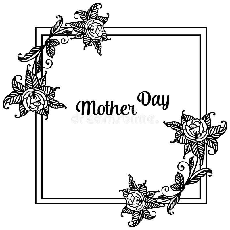 Kształt unikalna rama, piękny kwiat i liście, projekt kartki z pozdrowieniami macierzysty dzień wektor ilustracja wektor