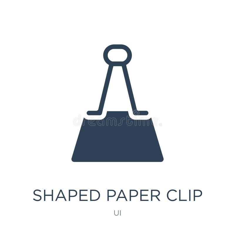 kształtna papierowej klamerki ikona w modnym projekta stylu kształtna papierowej klamerki ikona odizolowywająca na białym tle ksz ilustracji
