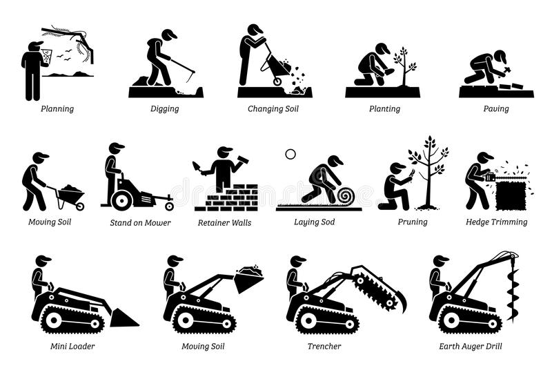 Kształtować teren i Horticulture ikony ilustracja wektor