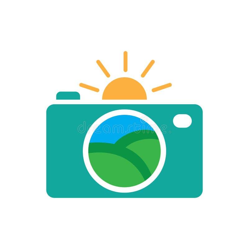 Kształtować teren kamera logo fotografii wektor ilustracja wektor