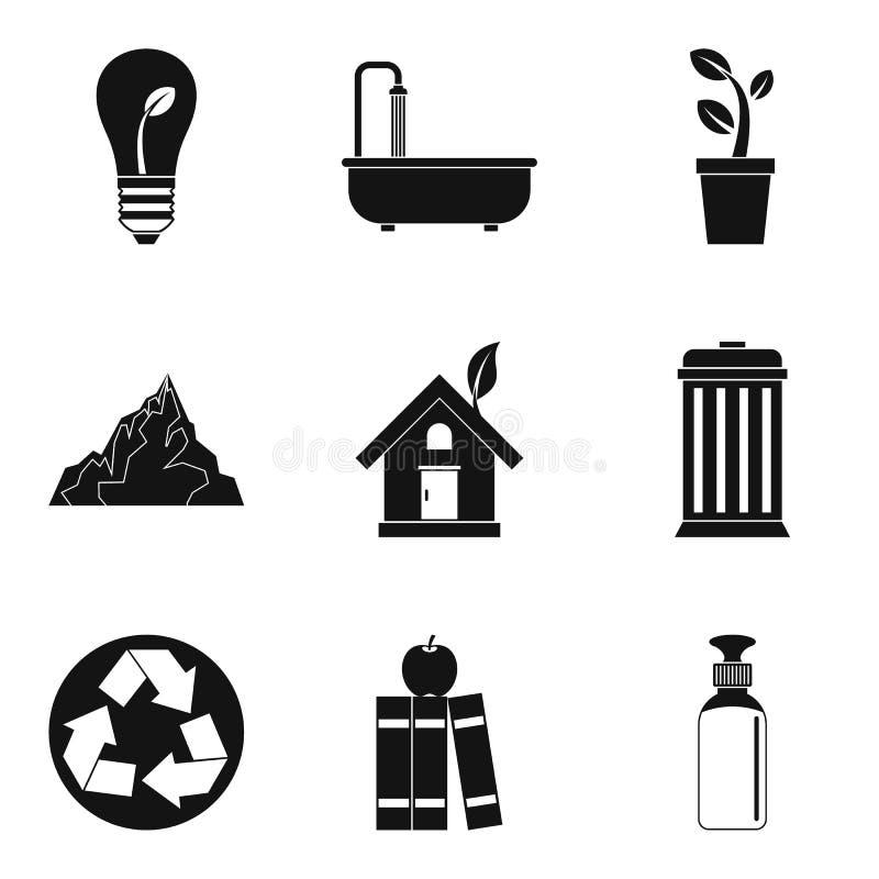 Kształtować teren planet ikony ustawia, prosty styl ilustracji