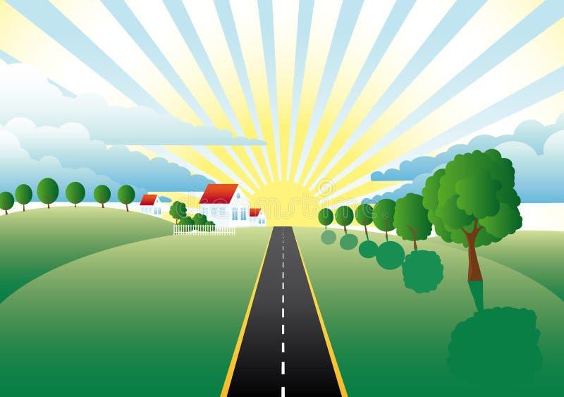 kształtuje teren łąki drogowe ilustracji