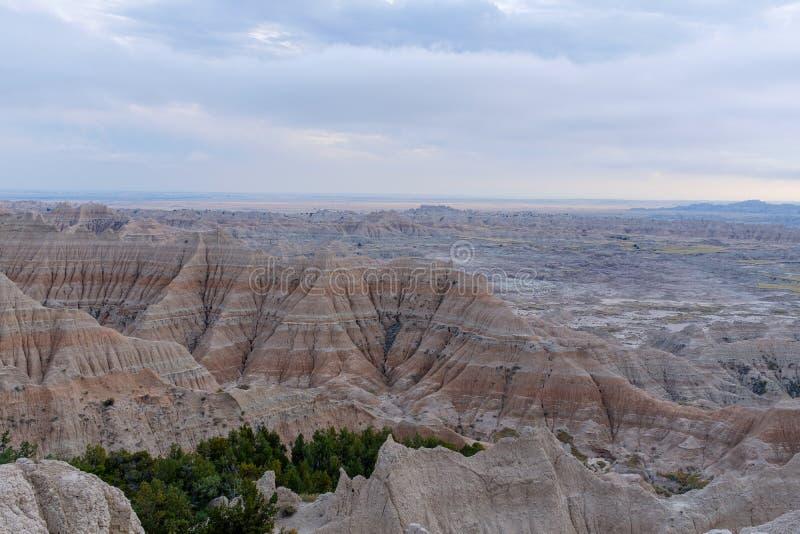Kształtuje teren w badlands parku narodowym, Południowy Dakota obrazy royalty free