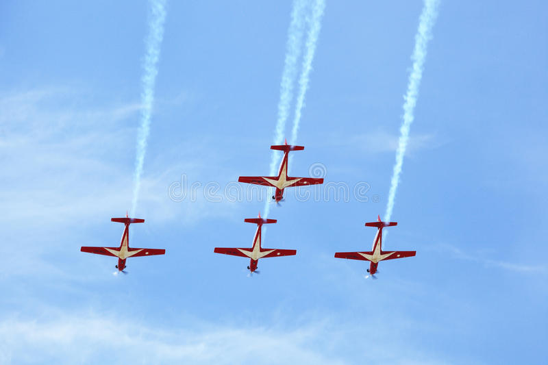 KT-1 Woong Bee from Indonesia show group flying royalty free stock photo