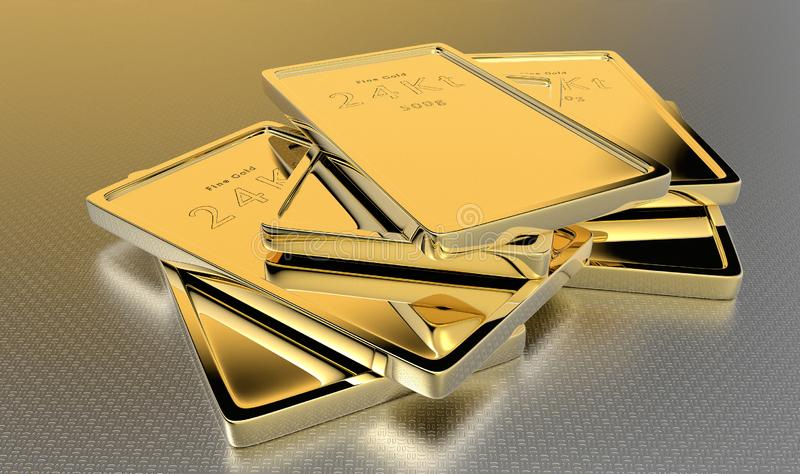24kt gouden baren royalty-vrije illustratie