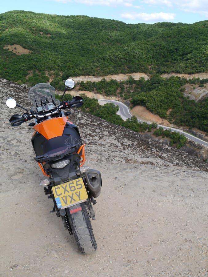 KTM 1050 Adventure at Meteora, Northern Greece. Showing mountain road stock image
