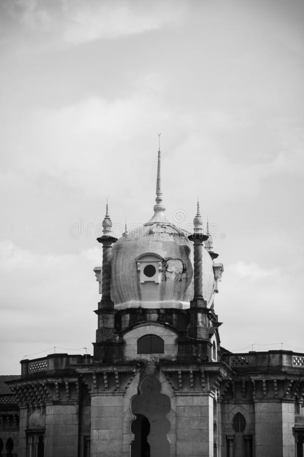 KTM Berhad building in black and white royalty free stock photography