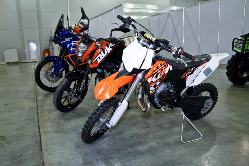 KTM crossmotorbike. MOSCOW - AUGUST 25: KTM crossmotorbike at the international exhibition of the auto and components industry, Interauto on August 25, 2011 in royalty free stock images