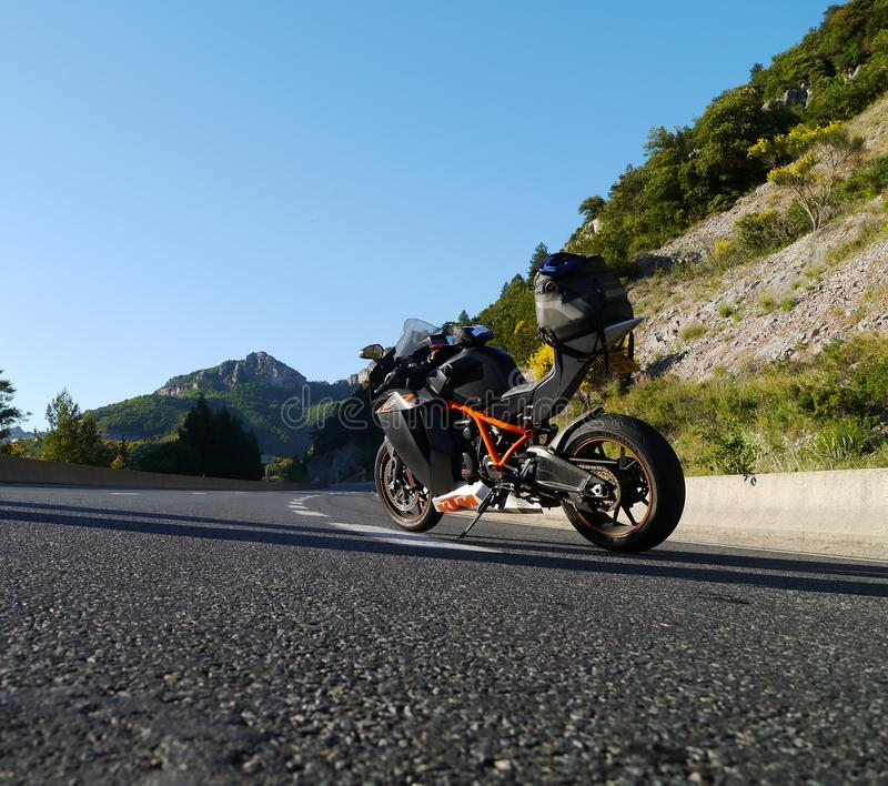 KTM RC8R motorcycle on a motorway in early evening light royalty free stock photos