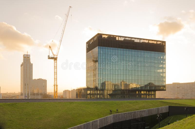 KTW building second tower under construction in Katowice center stock image