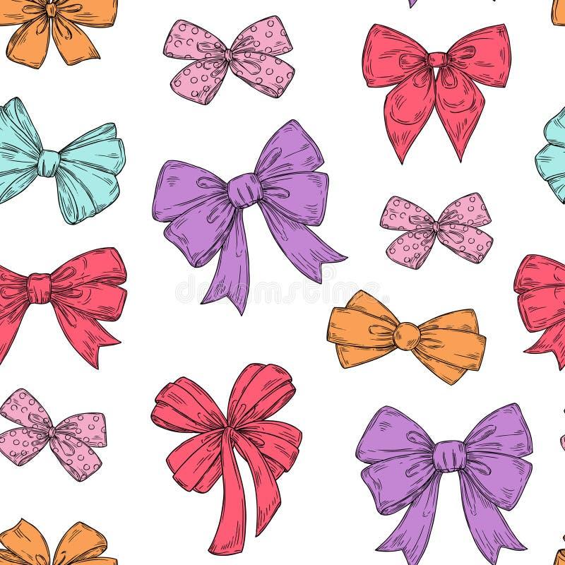 ??ku wz?r Moda krawata łęków akcesoria kreślą doodles wiążących faborki Wakacyjna bezszwowa wektorowa tapetowa tekstura ilustracji