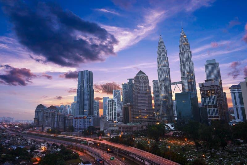 Kuala Lumper-horizon bij schemering stock afbeelding