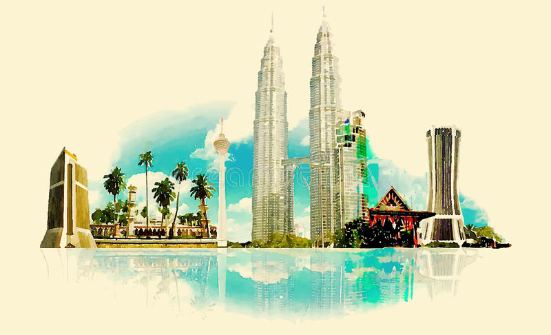 Kuala Lumpur royaltyfri illustrationer