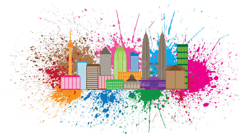 Kuala Lumpur City Skyline Paint ploetert Vectorillustratie royalty-vrije illustratie