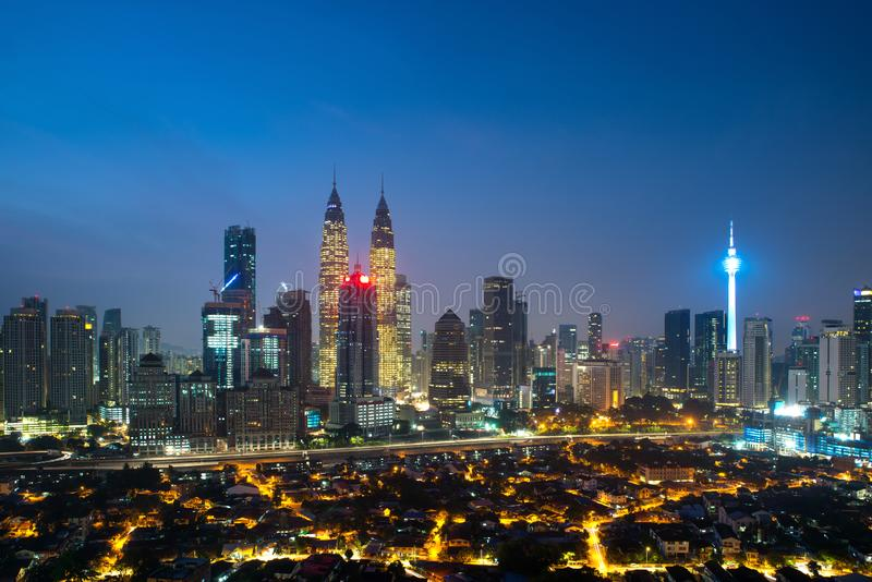 Kuala lumpur cityscape. Panoramic view of Kuala Lumpur city skyline during sunrise viewing skyscrapers building and Petronas twin stock photography