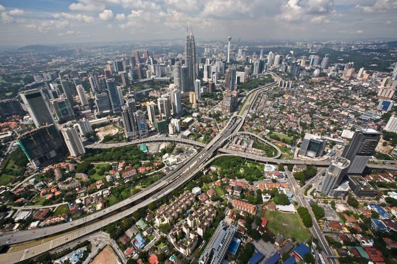 Kuala Lumpur de un helicóptero fotografía de archivo