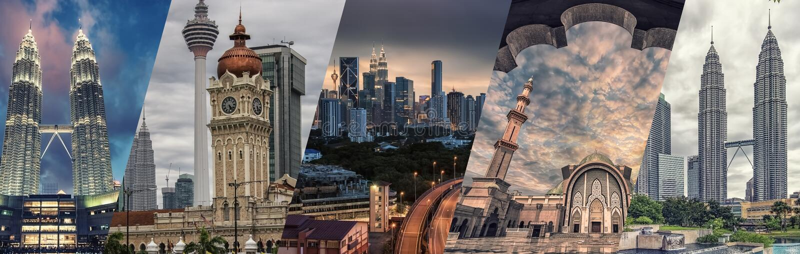 Kuala Lumpur famous landmarks collage. Kuala Lumpur city monuments and architecture stock photo
