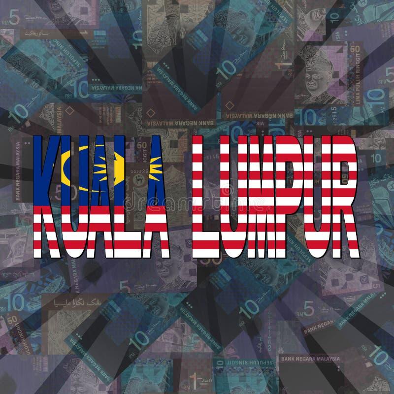 Kuala Lumpur flag text on Ringitt illustration stock illustration