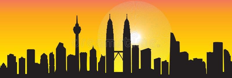 Kuala Lumpur horisont royaltyfri illustrationer
