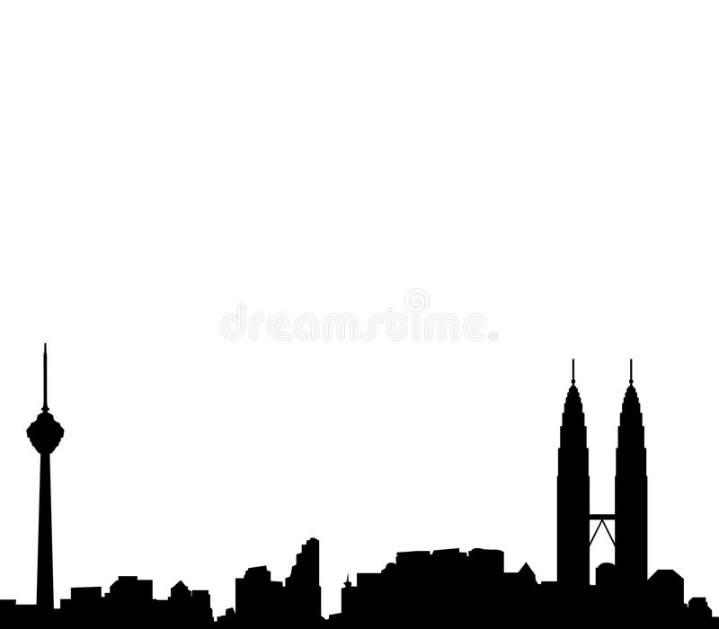 Kuala Lumpur horisontvektor stock illustrationer