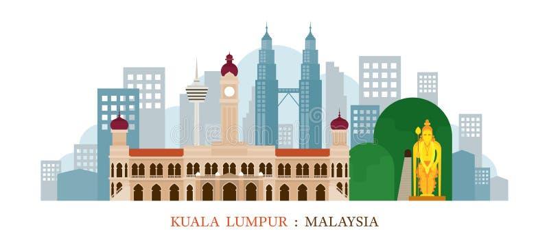 Kuala Lumpur, horizon de points de repère de la Malaisie illustration de vecteur