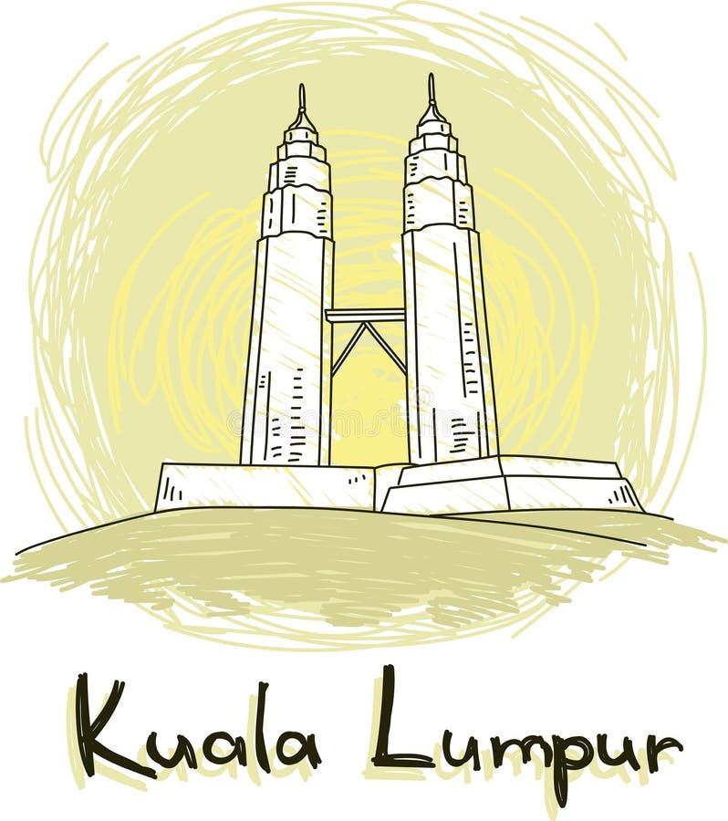 Kuala Lumpur-horizon ter beschikking getrokken stijl royalty-vrije illustratie
