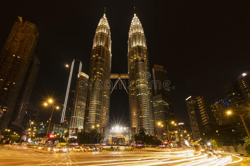 KUALA LUMPUR/MALAYSIA - 21-04-2019. The Amazing of Architecture of KLCC. Formerly known as Petronas Twin Towers Malaysia royalty free stock photography