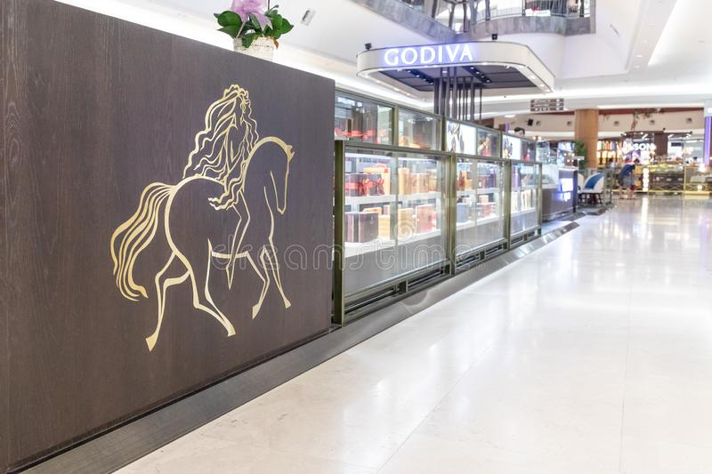KUALA LUMPUR, MALAYSIA, April 18, 2019:  Godiva Chocolatier is a Belgian manufacturer of chocolates and related products. Godiva. Owns and operates more than stock image