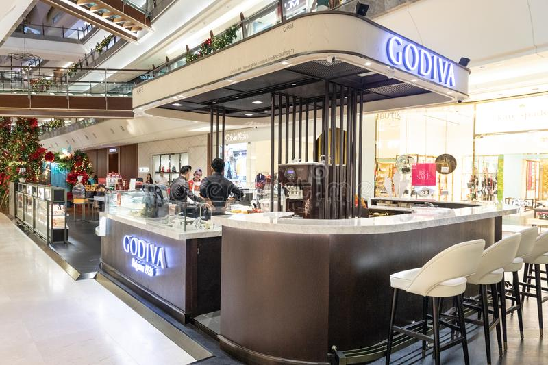 KUALA LUMPUR, MALAYSIA, April 18, 2019:  Godiva Chocolatier is a Belgian manufacturer of chocolates and related products. Godiva. Owns and operates more than stock photography