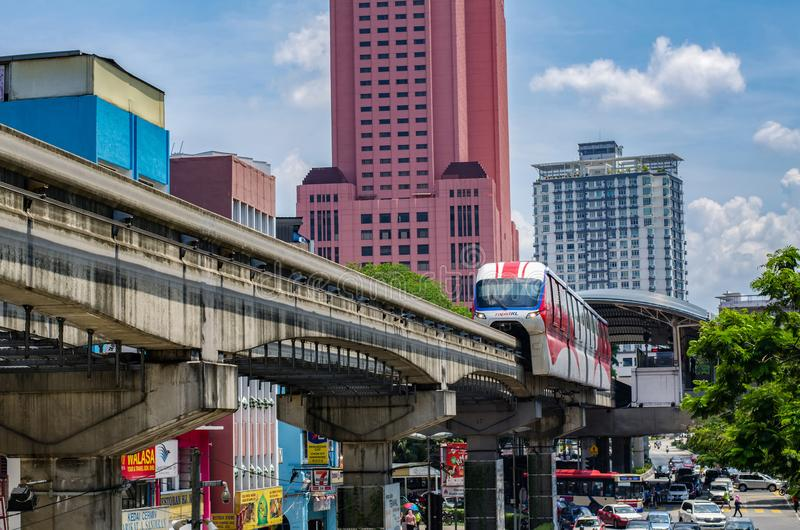 KUALA LUMPUR, MALAYSIA - April 9:Monorail at Chow Kit Road Station on 9 april 2017.  royalty free stock photos