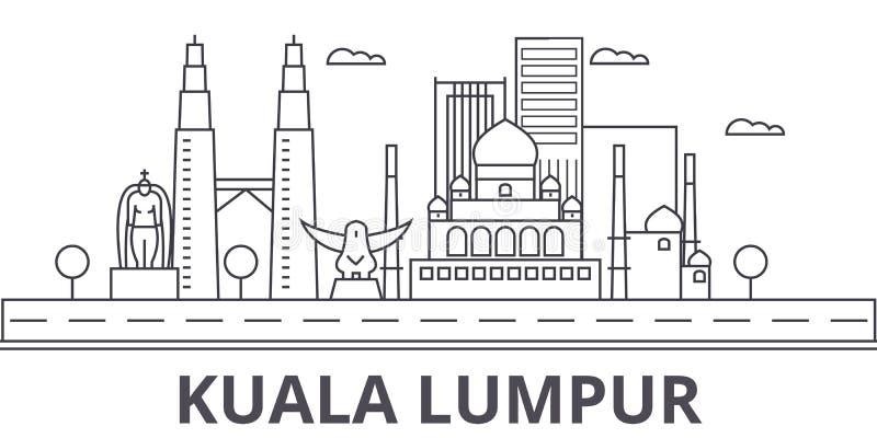 Kuala Lumpur Malaysia arkitekturlinje horisontillustration Linjär vektorcityscape med berömda gränsmärken, stad siktar stock illustrationer