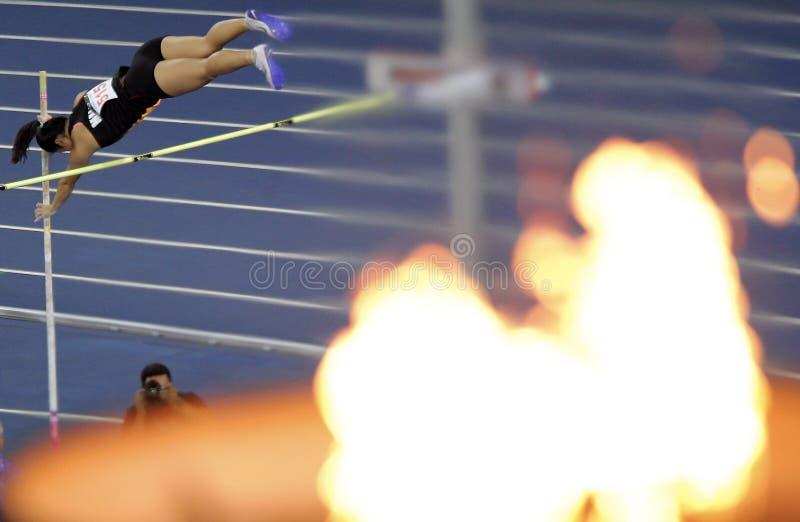 Stadium light pole on fire editorial photography  Image of