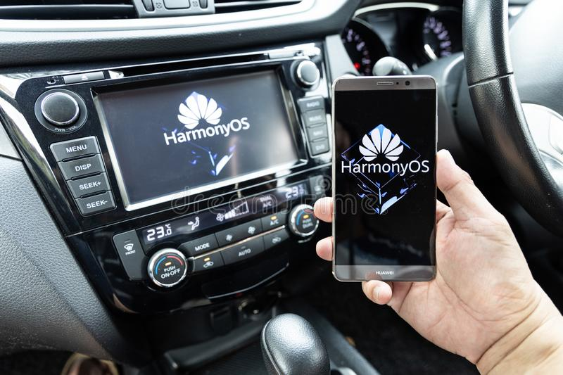 KUALA LUMPUR, MALAYSIA, August, 11, 2019: Huawei officially announced its new operating system, HarmonyOS. Illustrative visual of stock photography