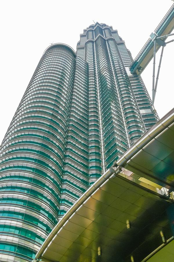 Petronas towers Kuala Lumpur view from below of a tower royalty free stock images