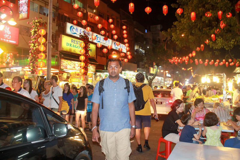 Kuala Lumpur Malaysia - Augusti 11 2013: Jalan Alor Setar stre royaltyfri foto