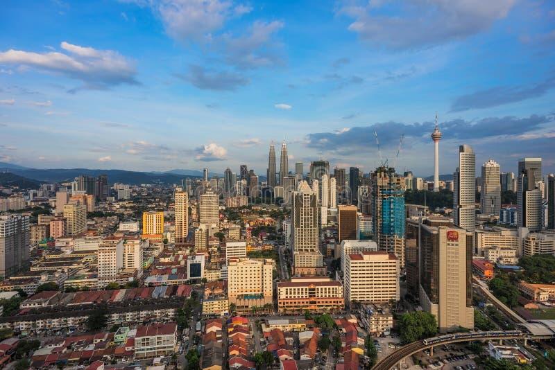 KUALA LUMPUR, MALAYSIA, Circa April 2015 - A blue sky afternoon at the city of Kuala Lumpur. Photo taken from a high angle royalty free stock photo