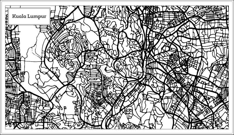 Kuala Lumpur Malaysia City Map en color blanco y negro libre illustration