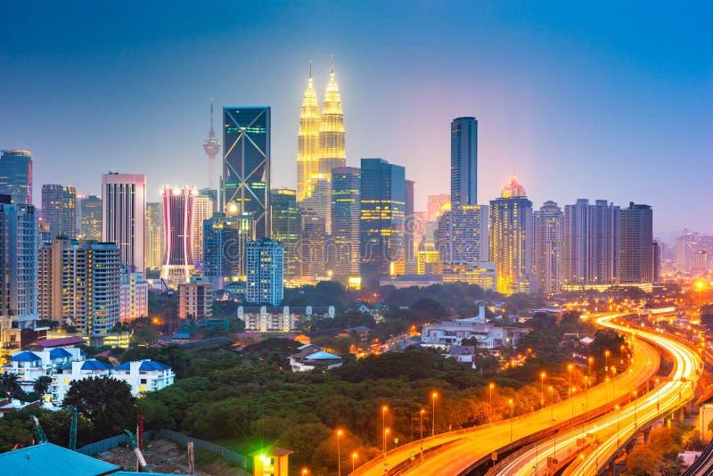 Kuala Lumpur, Malaysia city skyline. At night royalty free stock photos
