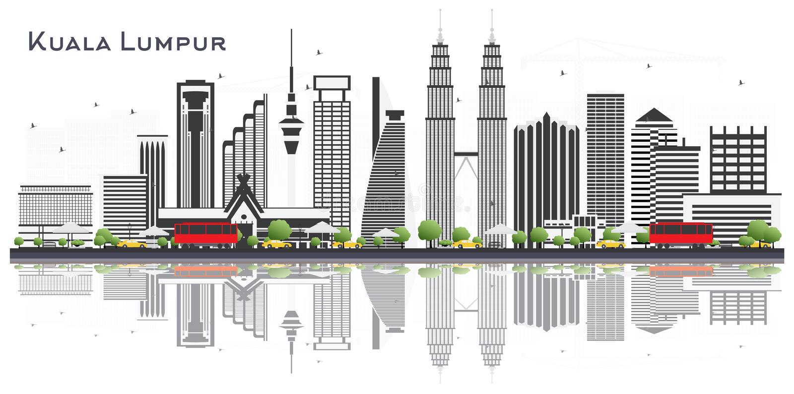 Kuala Lumpur Malaysia City Skyline with Gray Buildings Isolated. On White Background. Vector Illustration. Business Travel and Tourism Concept with Buildings stock illustration