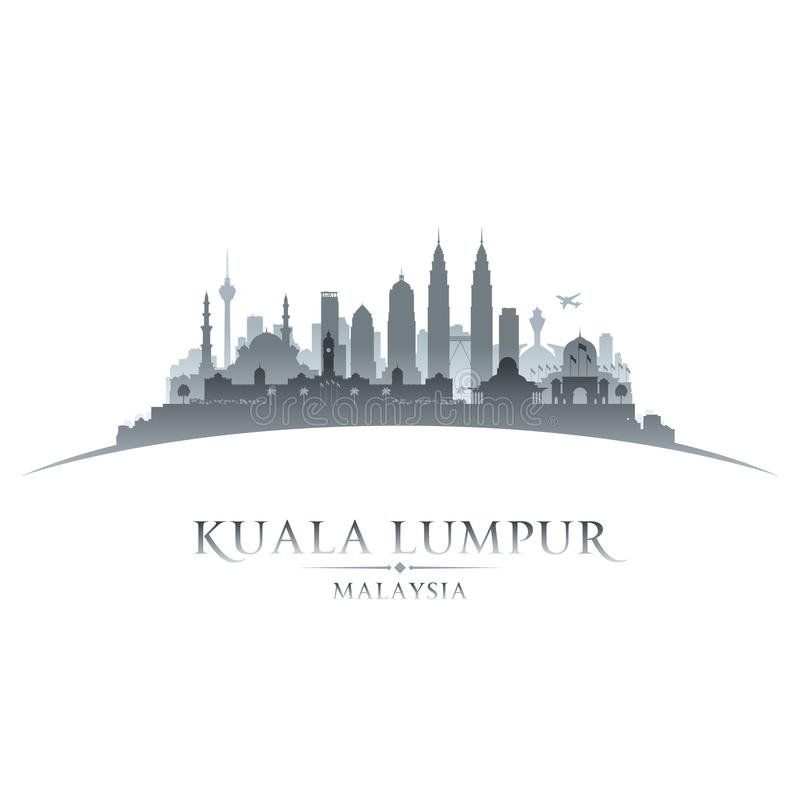 Kuala Lumpur Malaysia city skyline silhouette white background stock illustration