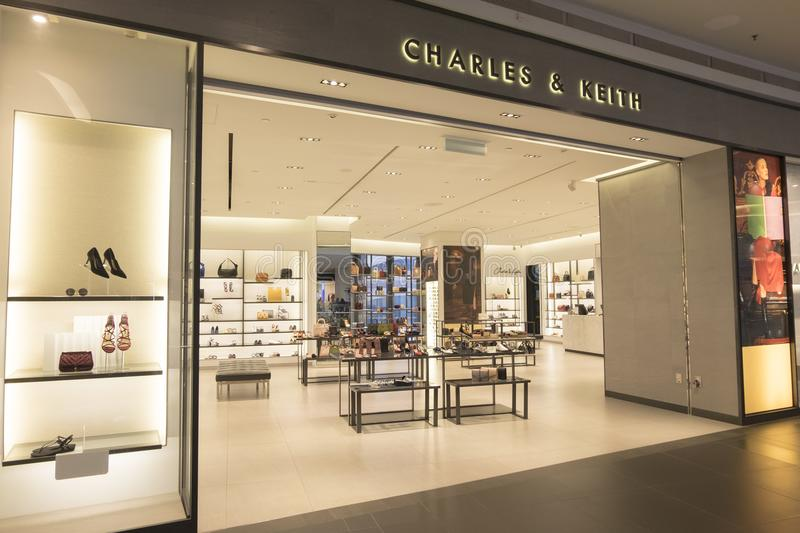 KUALA LUMPUR, MALAYSIA - DECEMBER 31, 2017: CHARLES & KEITH store outlet in NU SENTRAL Mall, Kuala Lumpur was founded by brothers stock photo