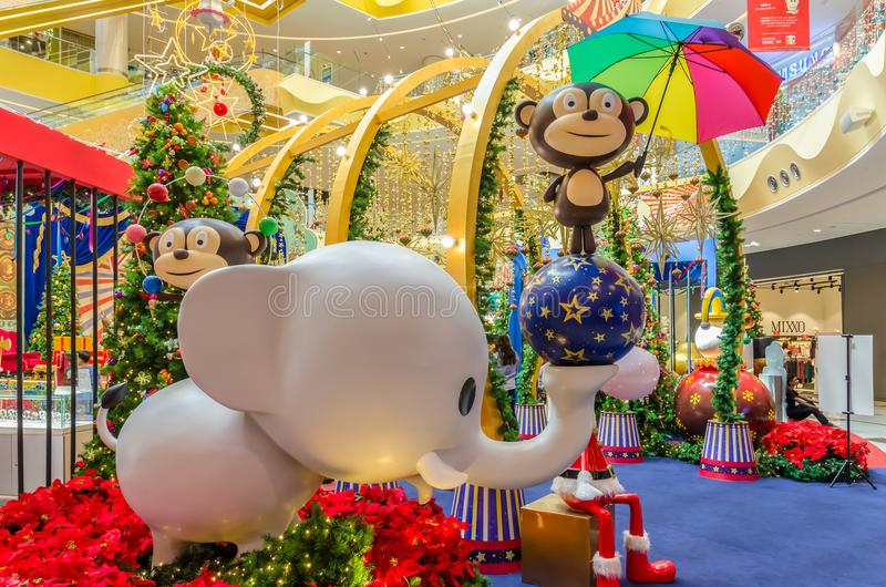 Christmas decoration in Sunway Velocity Mall. People can seen exploring and shopping around it. Kuala Lumpur,Malaysia - December 11,2017 : Christmas decoration royalty free stock photo