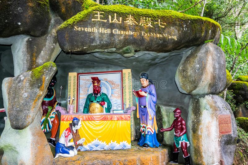 Kuala Lumpur, Malaysia, am 9. Dezember 2018: Ansicht von Naraka oder von buddhistischer H?lle bei Chin Swee Caves Temple, der Tao stockfotografie