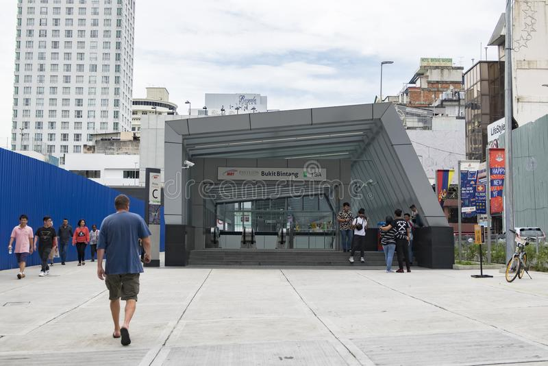 KUALA LUMPUR, MALAYSIA - DEZEMBER 31,2017: Eingang zum spätesten System des öffentlichen Transports in Klang-Tal, Masse Bukit Bin lizenzfreie stockfotos
