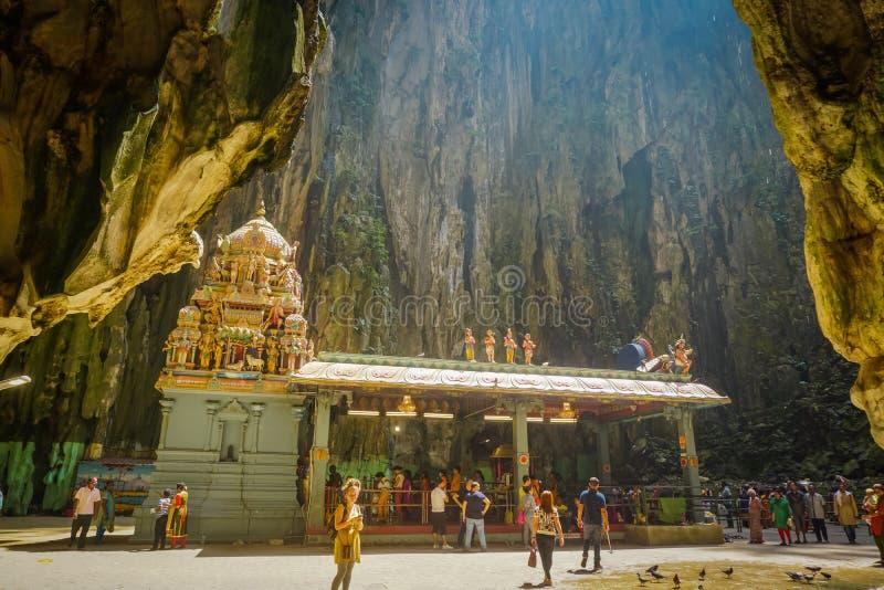 Kuala Lumpur Malaysia - Februari 5, 2017: Hinduisk tempel inom den Batu grottan i Kuala Lumpur arkivbilder