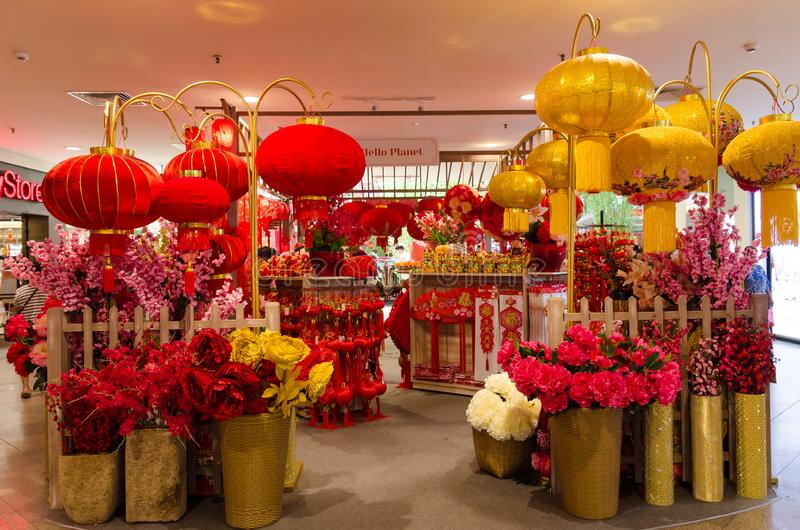 Variety types of Chinese New Year decoration selling in the Mid Valley Megamall. royalty free stock image