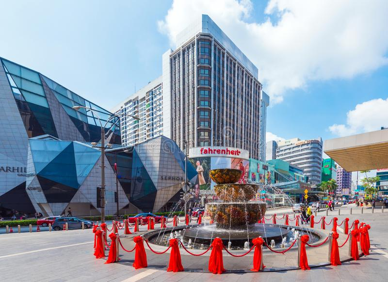 KUALA LUMPUR, MALAYSIA - FEBRUARY 16, 2018: View of the fountain in the city center royalty free stock photography