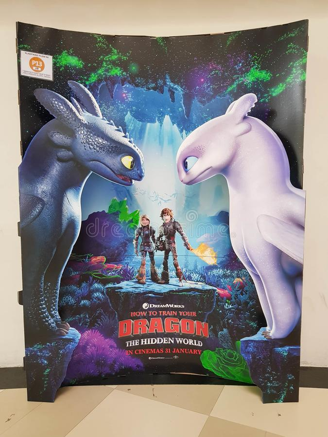 Beautiful standee of a movie How To Train Your Dragon Hidden World display at cinema theater stock photos