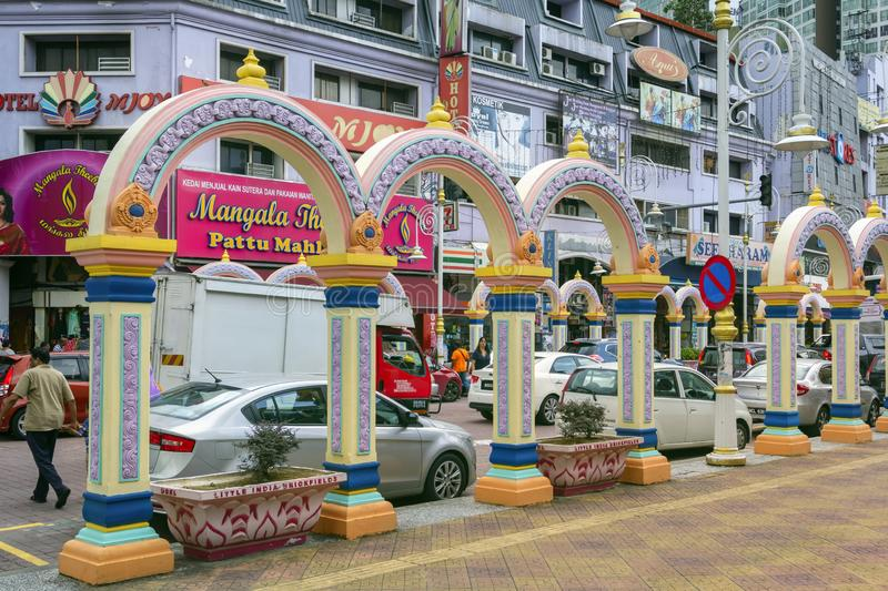 Little India is a popular tourist area of the city with shops, hotels and restaurants of Indian cuisine royalty free stock photo